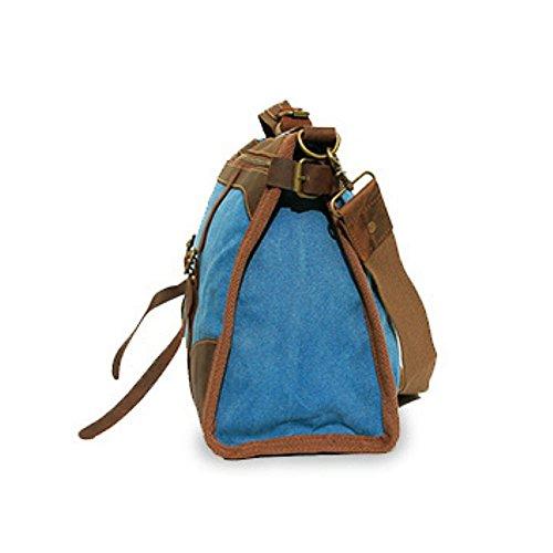 Paonies Damen Herren Canvas Schultasche Handtasche Rucksack Umhängetasche Reisetasche (Kaffee) Blau