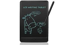 NEWYES 10 Pulgadas Tableta de Escritura LCD Almohadilla con Llave de Bloqueo Tablero de Dibujo para Niños Gráfico Electrónico para la Oficina de la Escuela en el Hogar (Negro)