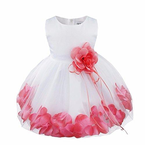 YiZYiF Baby Mädchen Kleid mit Blütenblätter Festlich Kleid Gr. 62-92 Hochzeit Kleinkind Verkleidung Weiß + Wassermelonen Rot 62-68