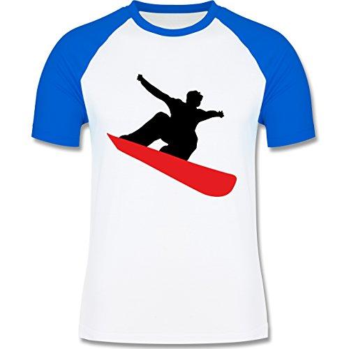 Wintersport - Snowboard schnelle Abfahrt - zweifarbiges Baseballshirt für Männer Weiß/Royalblau