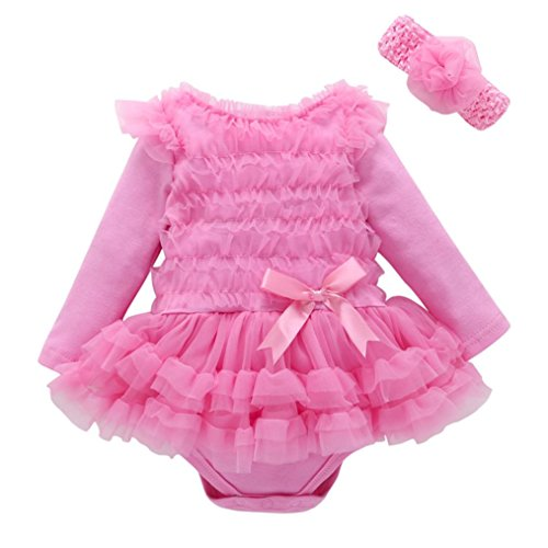 Babykleidung Hirolan Neugeborene Kleidung Herbst Kleinkind Baby Kinder Mädchen Spitze Solide Rüschen Prinzessin Party Kleid Mode Lange Ärmel Outfits (3M, Rosa) (Mädchen T-shirt Ringer Kinder)