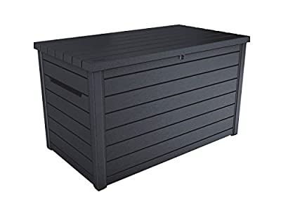 Koll Living Auflagenbox / Kissenbox Goliath XXL 870 Liter Farbe : GRAPHIT l 100% Wasserdicht l mit Belüftung dadurch kein übler Geruch / Schimmel l Moderne Holzoptik l Deckel belastbar bis 50 KG mit hochwertigen Gasdruckfedern