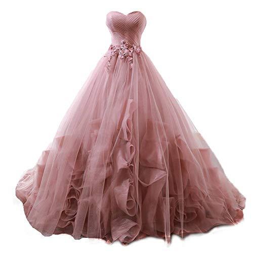 QAQBDBCKL Bohnen Rosa Rüschen Schleier Prinzessin Cosplay Wunderland Mittelalter Kleid Renaissance Kleid - Mädchen Wunderland Königin Kostüm
