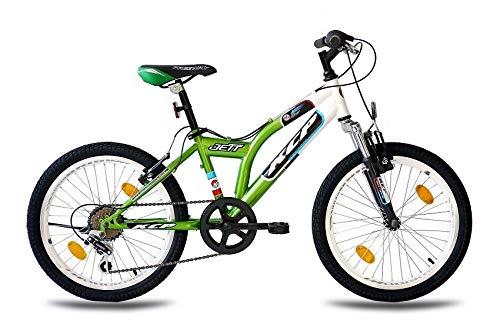 KCP 20 Zoll Mountainbike Kinderfahrrad - JETT SF Weiss grün - Hardtail Kinder Fahrrad für Jungen und Mädchen mit 6 Gang Shimano Schaltung - für Kinder zwischen 6-9 Jahre und 1,20-1,40m Körpergröße -