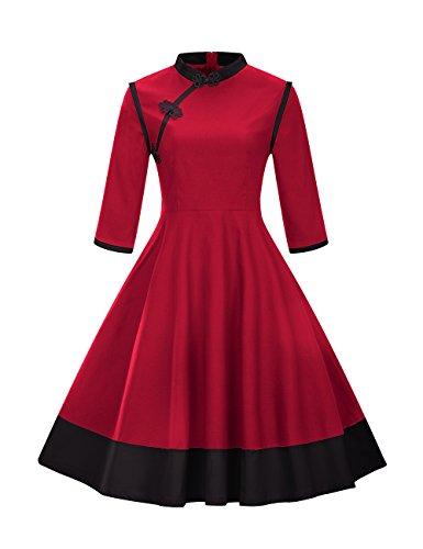 VKStar® Retro 50er Jahre Damen Rockabilly Kleid Langarm Knöpfen Kleid Stehkragen Abendkleid