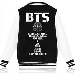 SERAPHY Unisex BTS Sudadera Ropa BTS Chaqueta de Beisbol para Army Suga Jin Jimin Jung Kook J-Hope Rap-Monster V Negro M