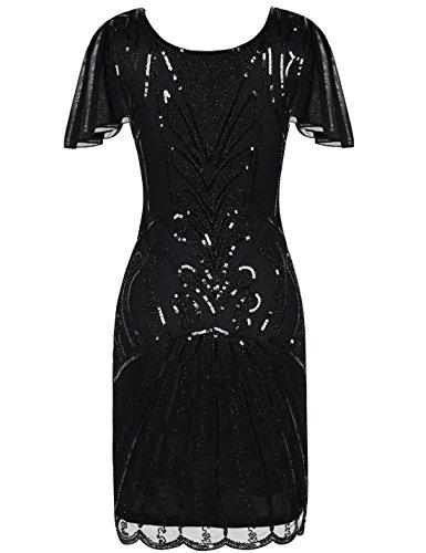 PrettyGuide Damen 20er Jahre Charleston Kleid Kurzarm Pailletten Gatsby Kleid XL Schwarz - 3