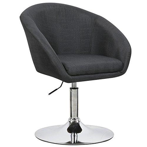 WOLTU BH61sz-1 Barhocker 1 Stück, stufenlose Höhenverstellung, verchromter Stahl, Leinen, gut gepolsterte Sitzfläche mit Armlehne und Rücklehne, Schwarz -