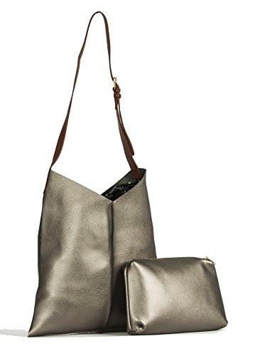 Grande Negozio Di Borsette, Damen Schultertasche Style 1 - Grigio Metallizzato