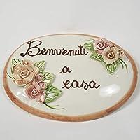 Targa in ceramica con scritta 'benvenuti a casa' con applicazioni di rose fatte a mano