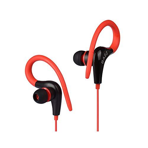 Jackcer Kopfhörer Ohr Haken Sport Headset Leichtes Laufende Kopfhörer Noise Cancelling Earbuds kompatibel mit Allen 3.5 Audio-Geräten,Red Ster-audio