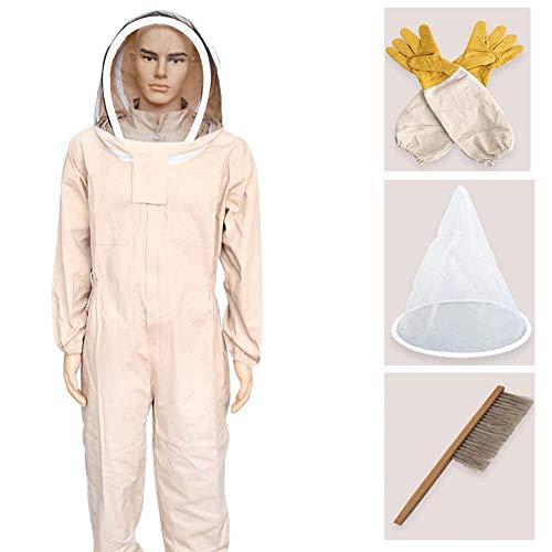 Lange Anzug Trennt (JXS-outdoor Einteiliger Anti-Bienen-Anzug aus Baumwolle, hochauflösender Schleier, vollständiger Schutz für Imker, mit Schaffellhandschuhen,XL)
