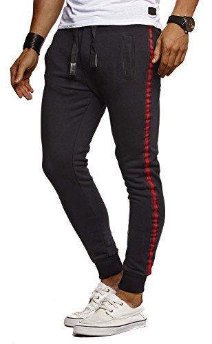 LEIF NELSON Herren Hose Jogginghose Freitzeithose Trainingsanzug Fitness Trainingshose Chino Slim Fit LN8000; XL; Schwarz