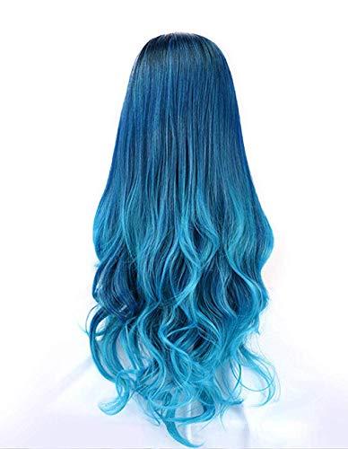 Solike 65cm Blau Lace Frontseiten Perücken für Damen Lange Top Synthetische Haar Perücke Natürliche Farbverlauf Wurzeln Spitze Perücken für Frauen Wavy Perücke für Cosplay Karneval (Blau)