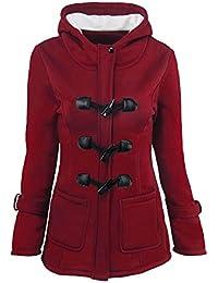 Mujer Casual Sudadera Con Capucha Botón Zip Chaqueta Capa Jacket Parka Abrigo