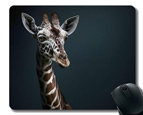 Rechteck-Mauspad, Nahaufnahme Giraffen-Gummi-Mousepad Genähte Ränder