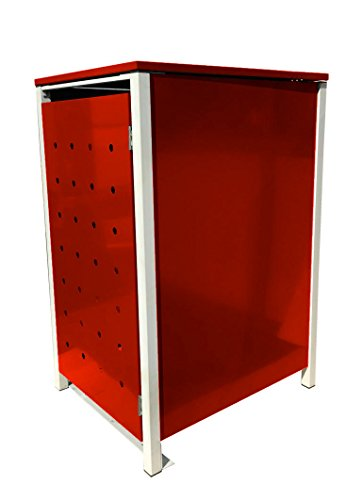 BBT@ | Hochwertige Mülltonnenbox für 1 Tonne mit 120 Liter mit Klappdeckel in Rot / Aus stabilem pulver-beschichtetem Metall / Stanzung 6 / In verschiedenen Farben sowie mit unterschiedlichen Blech-Stanzungen erhältlich / Mülltonnenverkleidung Müllboxen Müllcontainer - 2