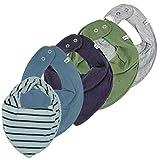 Pippi * 4er Set Baby Dreieckstuch Halstuch 4 Stück * Organic Cotton ~ zur Auswahl ~ *+ 1 GRATIS Tuch von Bestseller ~ Pack mit 5 Stück (Hellgrau,Oliv, Navy,Jeansblau&Streifen)