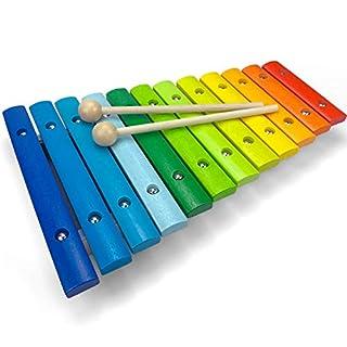 LISA & MAX Spielzeug Xylophon für Kinder aus Holz mit 12 Tönen - UNGESTIMMT - Wunderschönes Glockenspiel mit farbigen Klangplatten - Schult Motorik und begeistert fürs Musizieren - Holzspielzeug