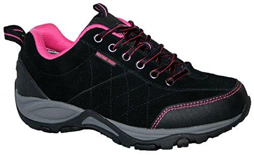 Damen Keller wetterfest leicht Memory Foam gefüttert Schnürschuh Komfort Walking Schuh, - schwarz / pink - Gr. 39