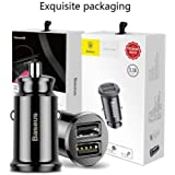 P-Plus International Baseus Mini 2 USB Car Charger For Mobile Phone Tablet 3.1A Max Fast Charge Car-Charger Dual USB Car Phone Charger Adapter In Car