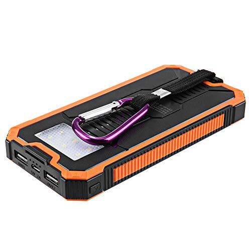 Solar Ladegerät Portable Power Bank Dual USB Wasserdicht Staubdicht Stoßfest Geeignet für Handys und Tablets Outdoor Camping,Orange