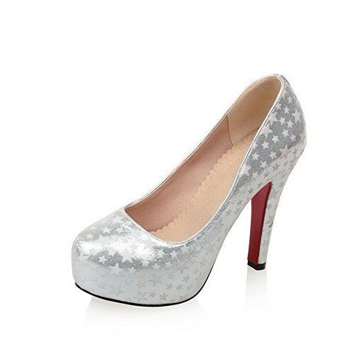 VogueZone009 Femme Pu Cuir Couleurs Mélangées Tire Rond à Talon Haut Chaussures Légeres Argent