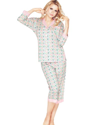 Mia Womens Capri (Mio Lounge Pink Paradise Cotton 3/4 Length Pyjamas MIOPJ08-3/4 S)