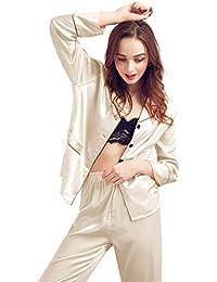 TT Global Pijamas de satén Homewear Verano Loungewear,Nueva Moda para mujer Sexy Pijamas de