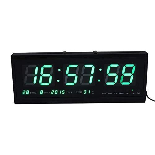 Sveglia digitale grande orologio da parete muro a led verde temperatura calendario ultrapiatto