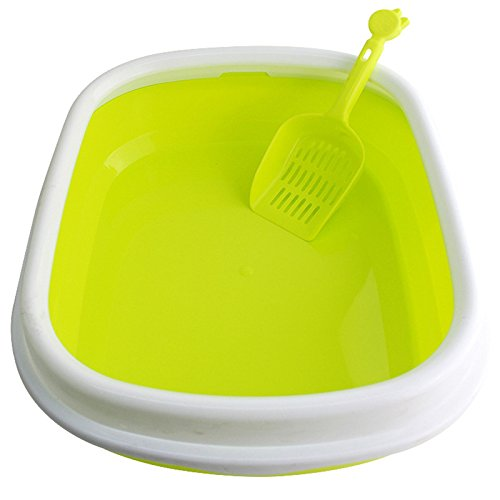 Zhuhaitf Cat Supplies Cat Plastic Litter Tray Mülleimer with Scoop with rim - 48*40.5*14cm (Rim-trainer)