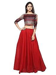 Inddus Beige Banarasi Cotton Woven Lehenga Set