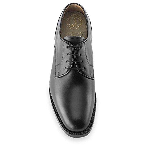 Masaltos scarpe con rialzo da uomo che aumentano l'altezza fino a 7 cm. fabbricate in pelle. modello bonn (44, nero)