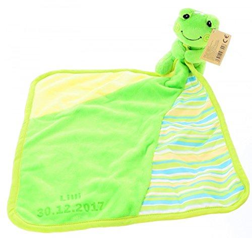 Schnuffeltuch, Schmusetuch, Spucktuch Frosch Hupfi mit Ihrem Wunschnamen und Geburtstag graviert Geschenk für Baby