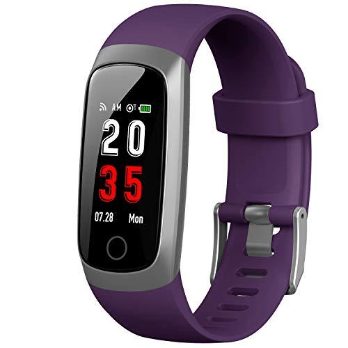 Trswyop Fitness Armband mit Pulsmesser, Fitness Tracker Blutdruckmessung Wasserdicht IP67 Schrittzähler Uhr Pulsuhr Stoppuhr Sport GPS Aktivitätstracker Schlafmonitor für Damen Kinder Herren