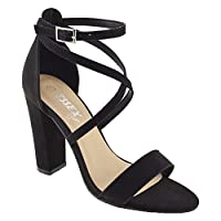 ESSEX GLAM Womens Ankle Strap Block Heel Sandals Ladies Strappy Buckle Prom Party Shoes Size 3-8