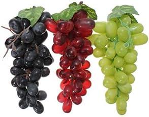 Artificial Grapes Plastic Fake Fruit Home Decor (Set of 3)