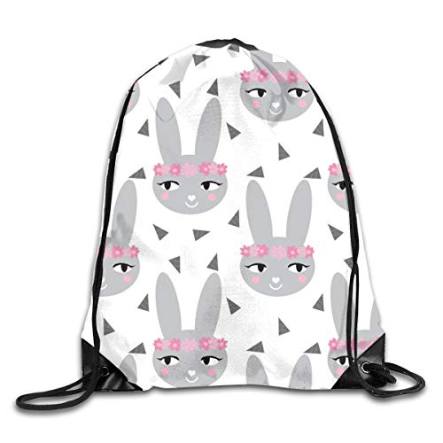 show best Bunny Rabbit Grey Baby Nursery Cute Baby Design Drawstring Gym Bag for Women and Men Polyester Gym Sack String Backpack for Sport Workout, School, Travel, Books 14.17 X 16.9 inch