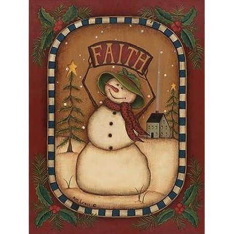 Pupazzo di neve Lewis fede, Kim–stampa fine art disponibile su tela e carta, Tela, SMALL (12 x 16 Inches ) - Folk Art Wall Hanging