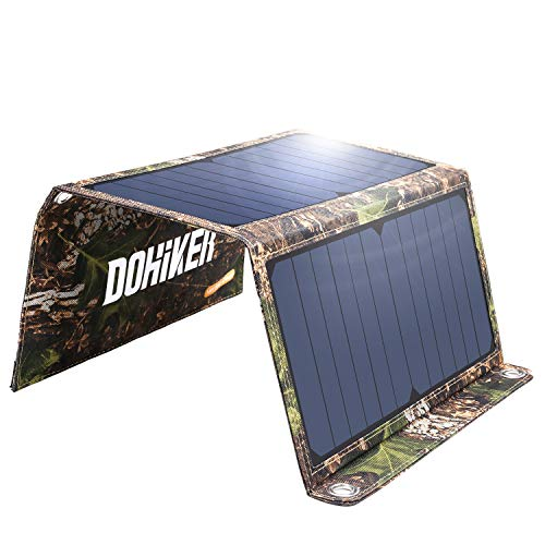 DOHIKER - Solar Ladegerät14W Solar Panel mit Dual USB Ports ( Tragbares Ladegerät für iPhone XS iPad Kindle Lautsprecher faltbares Ladegerät für Aktivitäten im Freien Camping Wandern Reise ) (Solar-panel-ladegerät Handy)