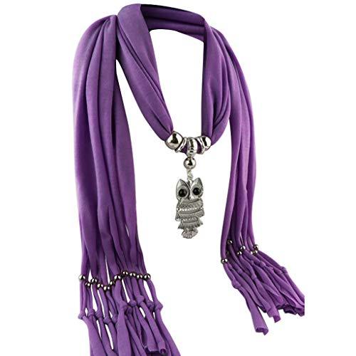 s Umschlagtücher, Halstücher Mode Frauen Anhänger Schal mit Quaste Strass Schmuck Schals Eule Anhänger Zubehör Halskette Schal Legierung Quaste Schal ()