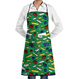 DFHome Restaurant Home Kitchen Bib Apron with Pocket Brick by Brick Kitchen Apron Waterproof for Cooking Baker Servers BBQ Chef Servers Waiter Tablier