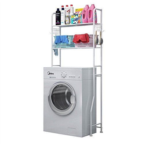 Mensola per bagno lavandino di rack angolo doccia mensola per bagno lavanderia pavimento rack multifunzione tipo bianco, 68 * 28,5 * 160cm asciugamano anelli stand