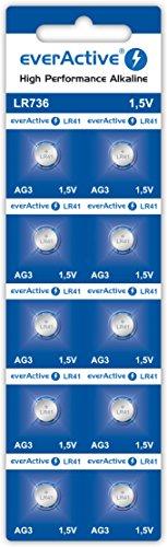 everActive AG3 1.5V, 10x Batterien, Alkaline, Mini, G3 LR736 LR41, 5 Jahre Haltbarkeit, 10 Stück - 1 Blisterkarte