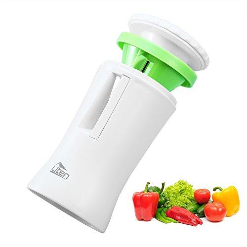 Spiralschneider Hand für Gemüsespaghetti Kartoffel, Uten Zucchini Spargelschäler Gurkenschneider mit 2 Klingen, Gemüsehobel ideal für Obst- und Gemüsenudeln enthält die Bürste für die Reinigung Test