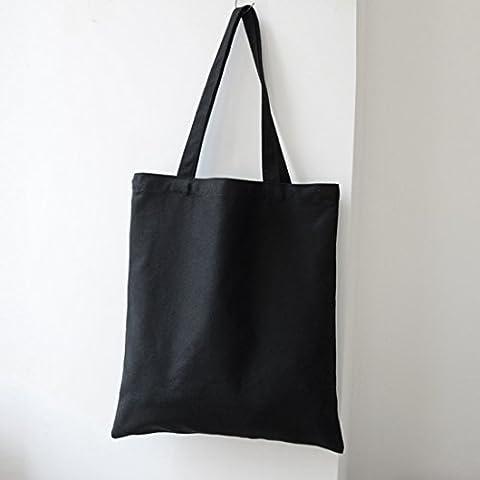 Lot de 2Cabas Sacs réutilisables Naturel sur toile DIY Uni pour Eco Shoppers, Tissu, noir, 35x40cm