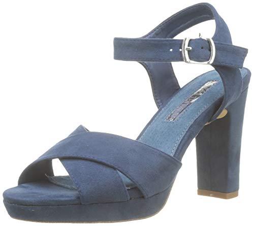XTI 32035, Scarpe col Tacco con Cinturino Dietro la Caviglia Donna, Blu Navy, 41 EU