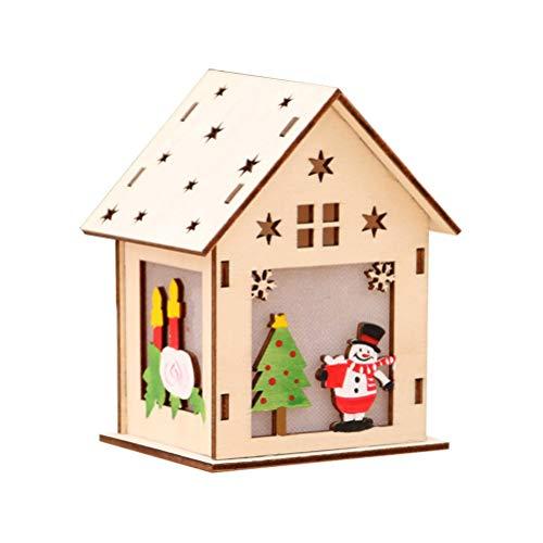 Vosarea LED Holzhäuser Weihnachtshäuser Holz Weihnachtsbaum Anhänger Weihnachtsdeko Weihnachtsdorf Häuser (groß Schneemann)
