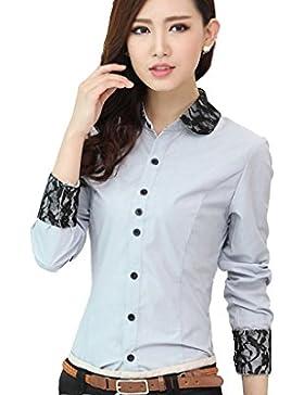 WSLCN - Camisa (para mujer, diseño que hace contraste, manga larga, favorecedora, algodón)