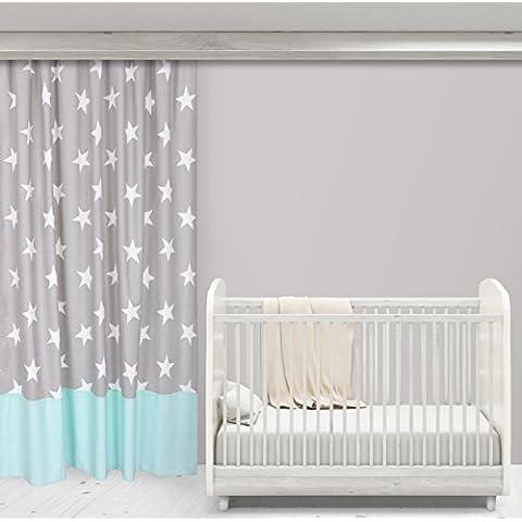 Fuerza Kids cortinas grandes estrellas blancas sobre gris y diseño puntos blancos sobre Mint